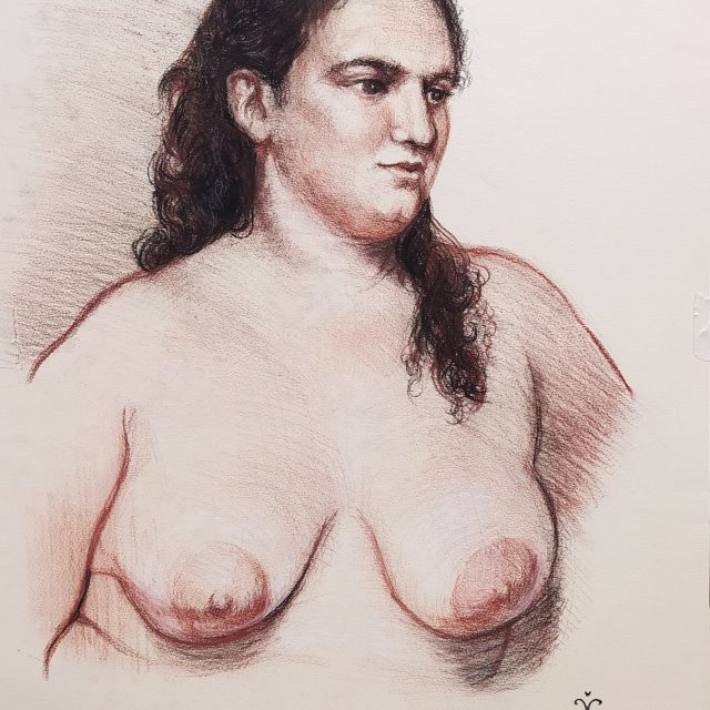 Portrait drawing of a young woman with breasts
