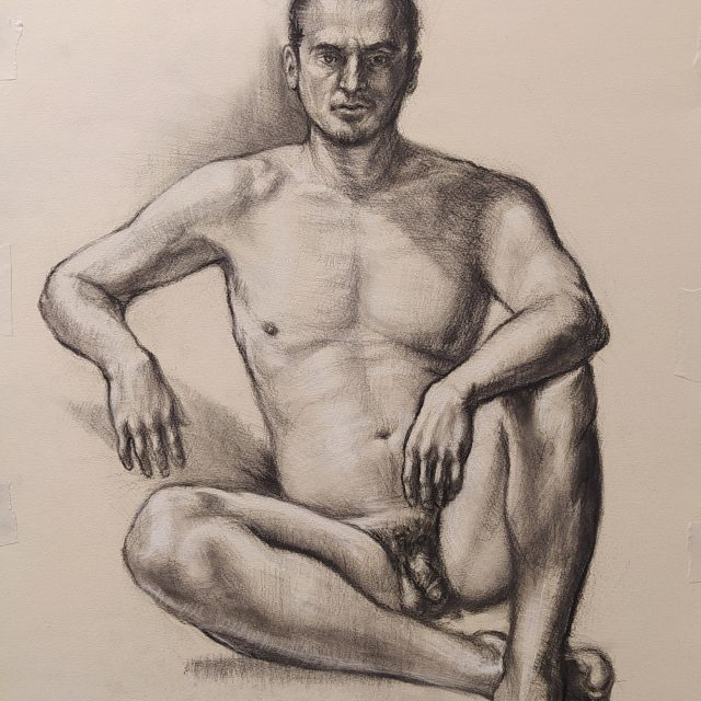 Godling drawing of a nude man in charcoal
