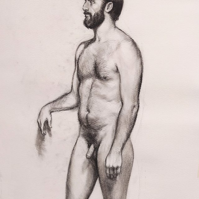 charcoal drawing of a nude man standing